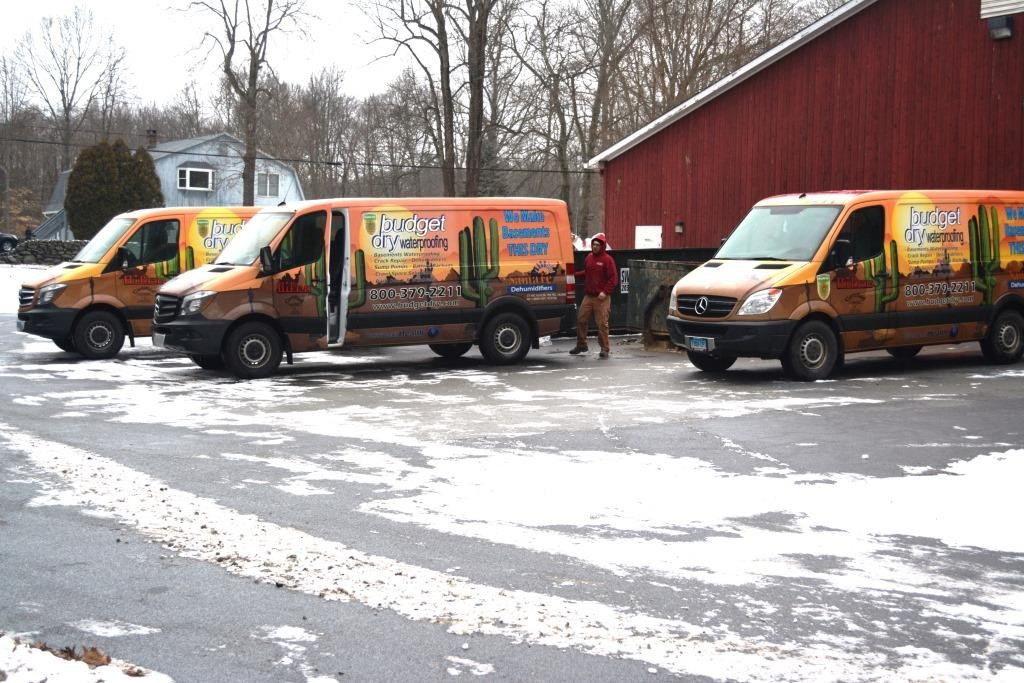 Budget Dry Vans lined up in the morning